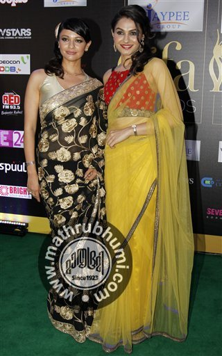 <br/> Bollywood actresses Pooja Kumar, left, and Andrea Jeremiah, right, arrive on the 'green carpet' for the Jaypee International Indian Film Academy (IIFA) awards
