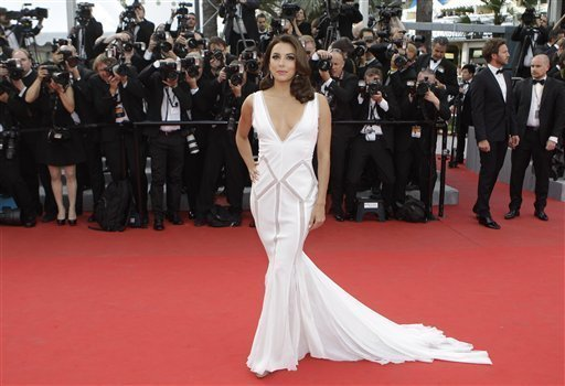 Actress Eva Longoria arrives for the screening of Rust and Bone at the 65th international film festival, in Cannes, southern France, Thursday, May 17, 2012<br/>