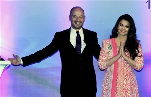 Bollywood actress Aishwarya Rai Bachchan with French Ambassador to India, Francois Richier, after she was conferred with the French civilian award, Officer Dan Ordre Arts et des Lettres, on her birthday in Mumbai on Thursday. PTI Photo 