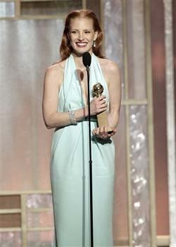 Jessica Chastain with her award for best actress in a motion picture drama for her role in 'Zero Dark Thirty'