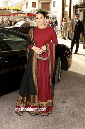 Actress and jury member Vidya Balan arrives for cocktails at the Martinez Hotel at the 66th international film festival, in Cannes, southern France, Tuesday, May 14, 2013. (Photo by Todd Williamson/Invision/AP