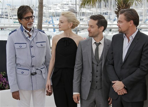 From left, actors Amithahb Bachan, Leonardo DiCaprio, Carey Mulligan and director Baz Luhrmann pose for photographers during a photo call for the film The Great Gatsby at the 66th international film festival, in Cannes, southern France, Wednesday, May 15, 2013. (AP Photo/Lionel Cironneau)