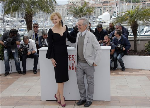 Jury member Nicole Kidman, left, and jury president Steven Spielberg pose during a photo call for the jury at the 66th international film festival, in Cannes, southern France, Wednesday, May 15, 2013. (AP Photo/Lionel Cironneau)