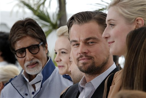 From left, actors Amitabh Bachchan, Carey Mulligan, Tobey Maguire and Leonardo DiCaprio pose for photographers during a photo call for the film The Great Gatsby at the 66th international film festival, in Cannes, southern France, Wednesday, May 15, 2013. (AP Photo/Lionel Cironneau)